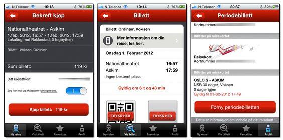 Det er raskt og enkelt å kjøpe billetter via den nye NSB-appen. Skjermbildet i midten viser den elektroniske billetten. Skjermbildet lengst til høyre viser hvordan du også kan fornye periodebilletten via appen.