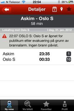 Appen gir informasjon om eventuelle forsinkelser på strekningen du skal reise.