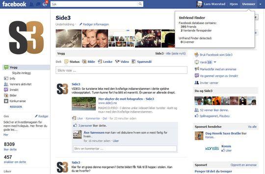 NYE VALG: Når skriptet er installert, vil du se at Facebook har fått to nye tillegg når du logger deg. Øverst til høyre ser du valget «Uvenner», og det samme vil du se i listen med favoritter på din profil. Som du kan se er skriptet bare delvis lokalisert.