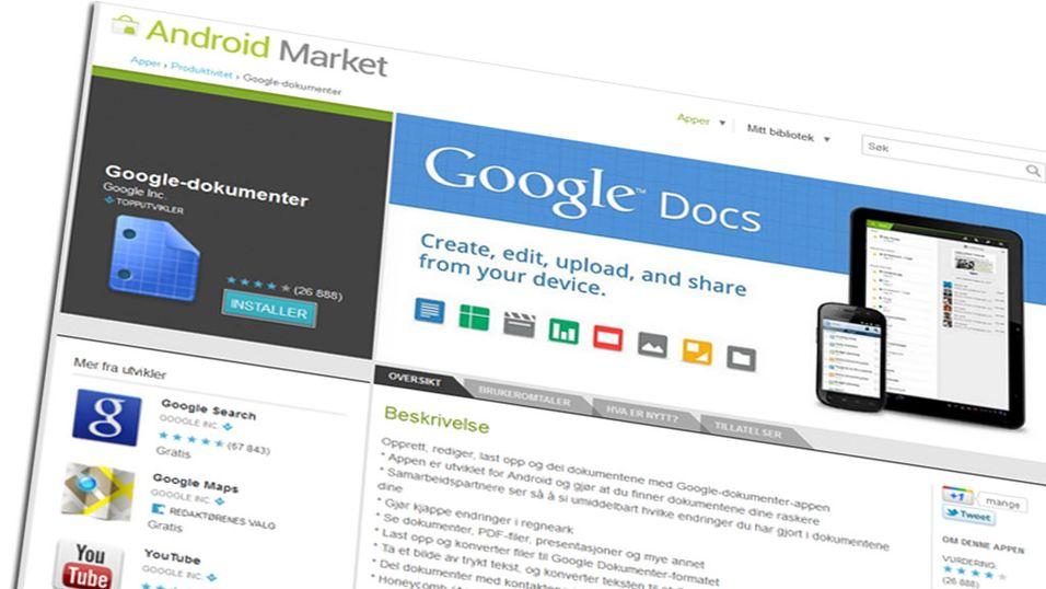 Nye Google Docs virker uten Internett