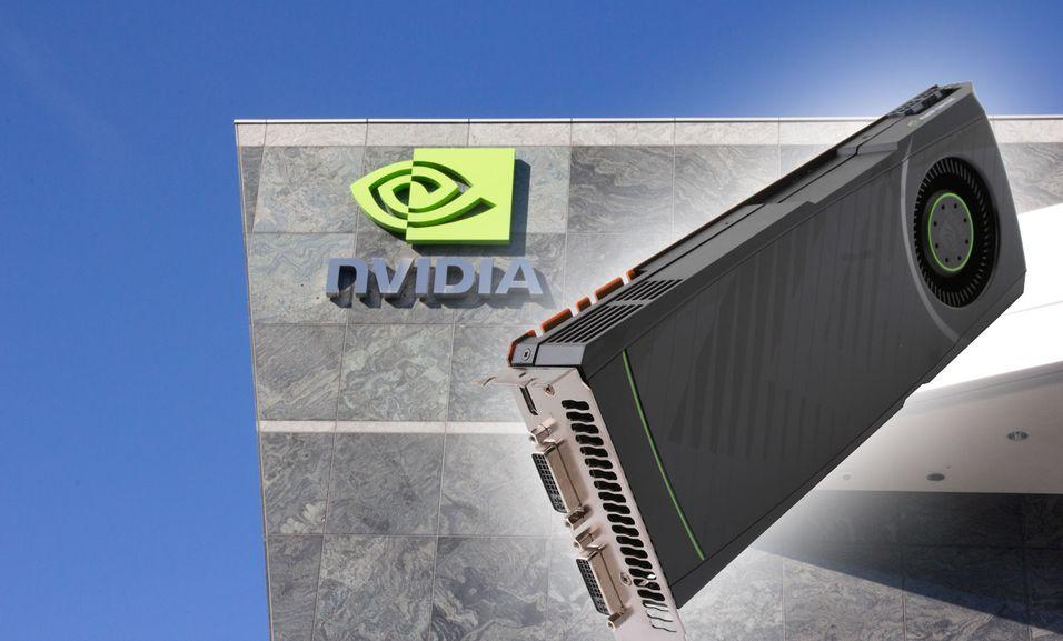 Nvidias hovedkvarter i Santa Clara og dagens toppmodell, GTX 580. Foto: Hardware.no