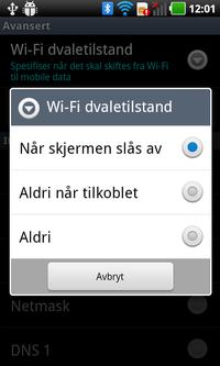 I dette eksempelet fra en LG Optimus Black-telefon vil telefonen slutte å bruke det trådløse nettet til dataoverføring så snart skjermen slukkes.