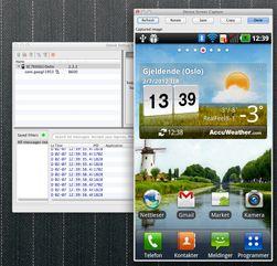 Skjermbildet er hentet fra programmet DDMS. Vi har valgt Screen capture fra Device-menyen, etter først å ha valgt vår mobiltelefon i listen øverst til venstre. Du må trykke Refresh-knappen for å vise et nytt skjermbilde fra mobilen. (Klikk for å se stor versjon av skjermbildet)