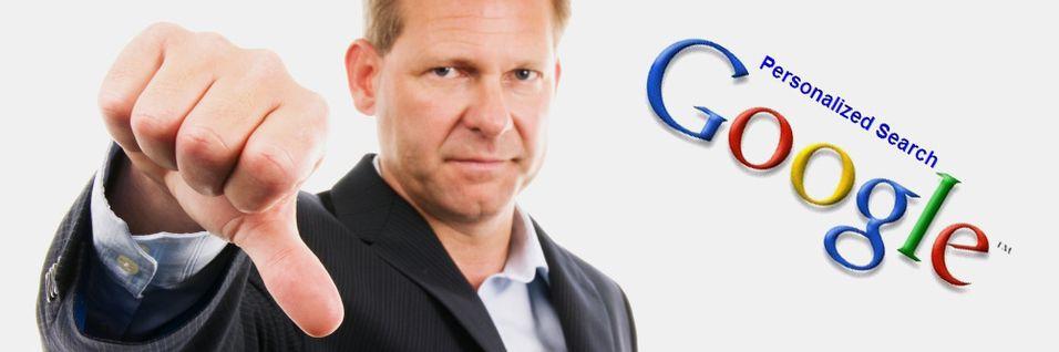 Brukerne misliker Googles personlige søkeresultater