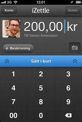 Slik ser det ut når du skal betale med kort på mobilen, via iZettle.