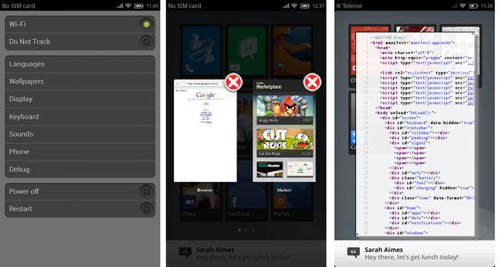 Skal du skru av telefonen, må du gå via skjermen for innstillinger. I midten vises bildet som kommer opp når du holder inne Hjem-knappen. Til høyre: Når du trykker Meny-knappen på mobilen, får du opp HTML-koden for den siden/appen du har oppe.