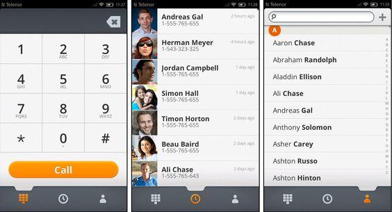 Ringefunksjonen,listen over siste samtaler (i midten) og kontaktregisteret ser pent ut – men vi fikk ikke lagt til nye oppføringer i kontaktregisteret.