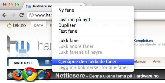 Angre lukket fane for Chrome på Mac.