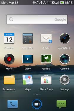 Flyme OS er basert på Android, men har ingen app-meny. I stedet ligger alle apper spredd utover startskjermene – som på iOS.