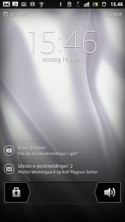 Sony har laget sitt eget menysystem oppå Android. Slik ser låseskjermen ut.