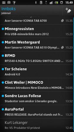 Slik ser innboksen i e-postleseren ut. Du kan ha felles innboks for flere kontoer.