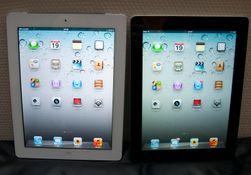 Ny og gammel iPad ved siden av hverandre. iPad 2 til venstre og iPad (3) til høyre.