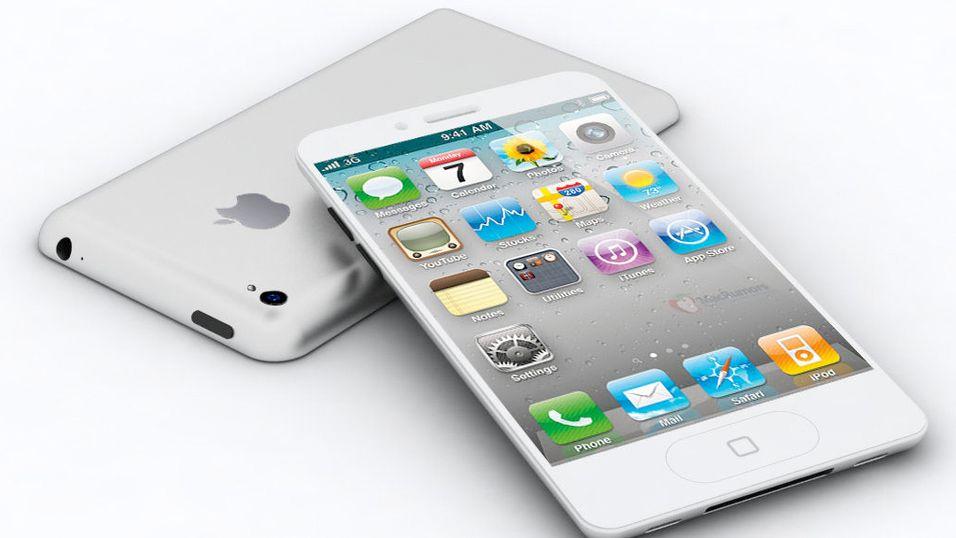 Macrumors.com har laget denne virtuelle modellen av iPhone 5, basert på de ryktene som har gått om Apples neste telefon. Blant fellesnevnere i ryktene som går er informasjonen om en større skjerm.