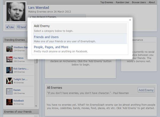 EnemyGraph blir en inkludert del av Facebook dersom du installerer appen.