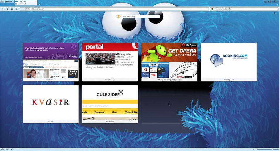 Opera 12 har støtte for temaer. Hva med et blått kakemonster som bakgrunn?