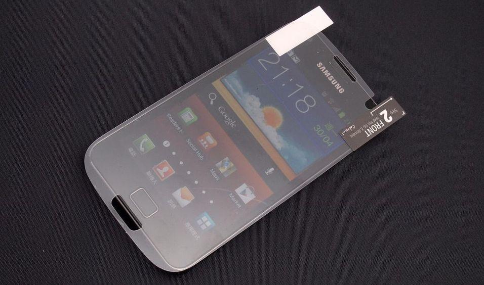 Denne skjermbeskytteren skal være til den kommende Samsung-modellen. Her ser vi den på dagens Galaxy S II.
