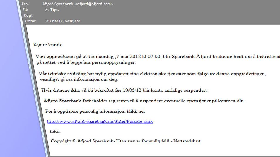 SVINDEL: Dette er den falske mailen som utgir seg for å være fra Åfjord Sparebank.