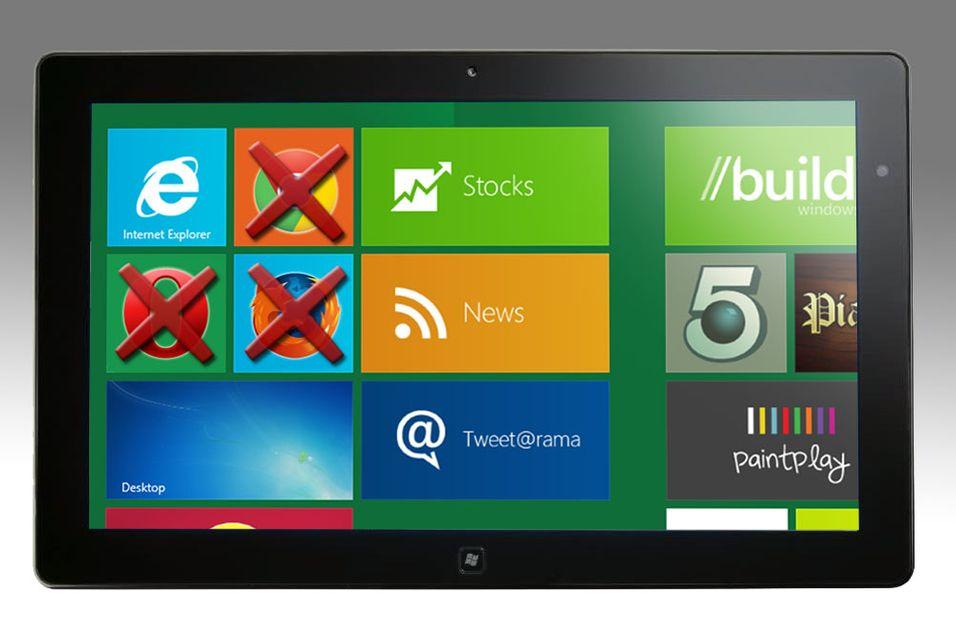 – Windows 8 til nettbrett får bare én nettleser