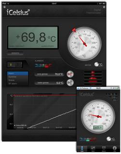 På iCelsius for iPad (til venstre) ser du både temperatur, alarminnstillinger og temperaturgraf på samme skjermbildet. Bruker du iPhone-versjonen (til høyre) må du velge hva som skal vises.