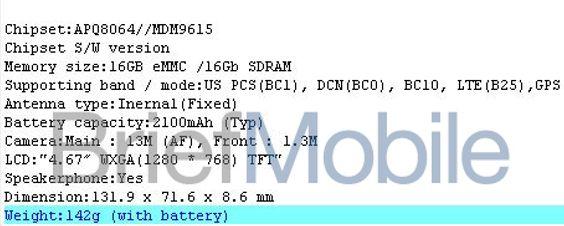Slik skal spesifikasjonene på LS970 være. Hurtigminnet er oppgitt i gigabit i stedet for gigabyte. Deler vi på 8 ender vi opp med 2 GB.