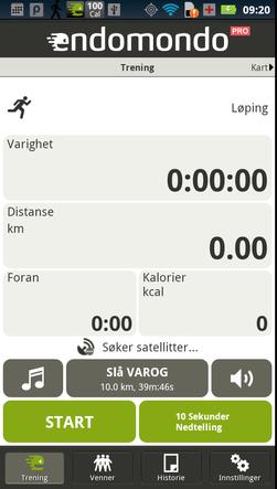 Android-versjonen av Endomondo.