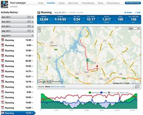 I treningsapper som Endomondo, Nike+ eller Runkeeper (bildet) plottes ruten du har løpt eller syklet inn på et kart.