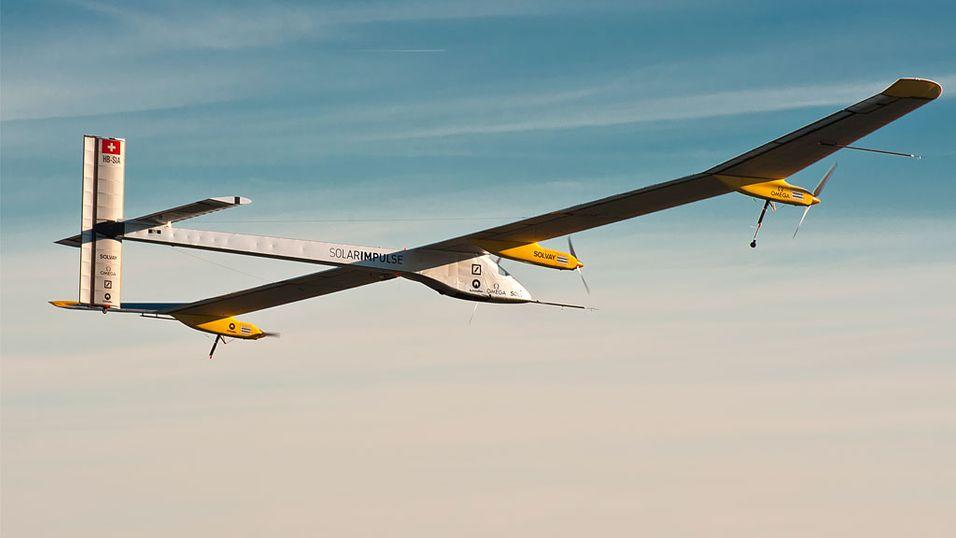 Flyet blir drevet av fire elektriske motorer som får energi fra 12000 solceller integrert i vingene. (Foto: © Solar Impulse | Jean Revillard)