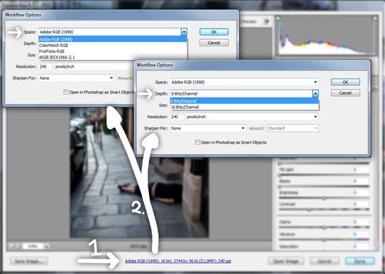 Skjermbilde som viser muligheten for valg av fargerom og bit-dybde under konvertering med Adobe Camera Raw