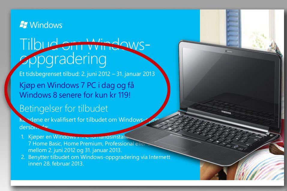 Oppgraderings-programmet til Windows 7 er aktivert i Norge.