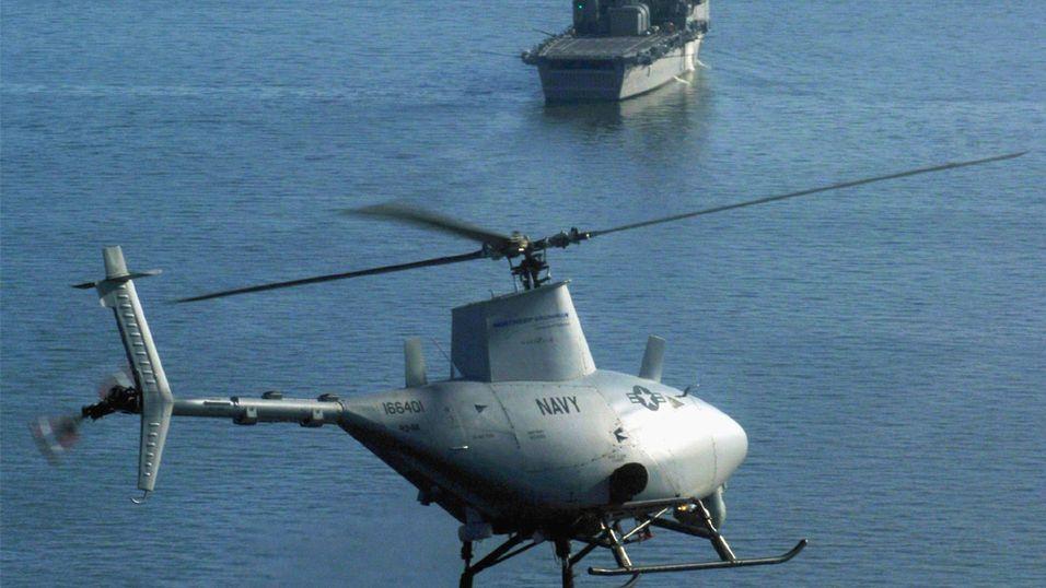 En av forgjengerne til MQ-8B, RQ-8A, går her inn for landing.