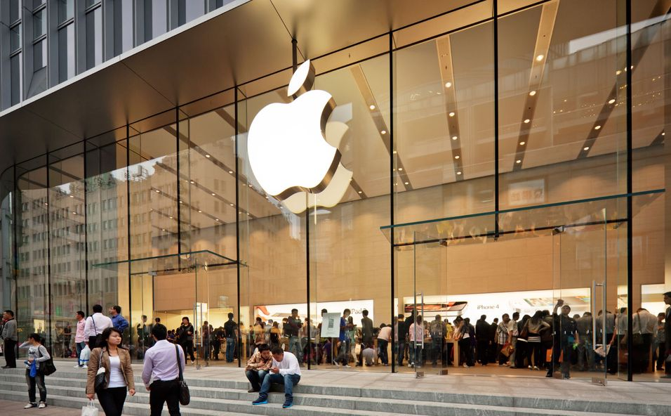 Bildet viser en Apple-butikk i Kina, et marked som ikke vokser like raskt  som man trodde.