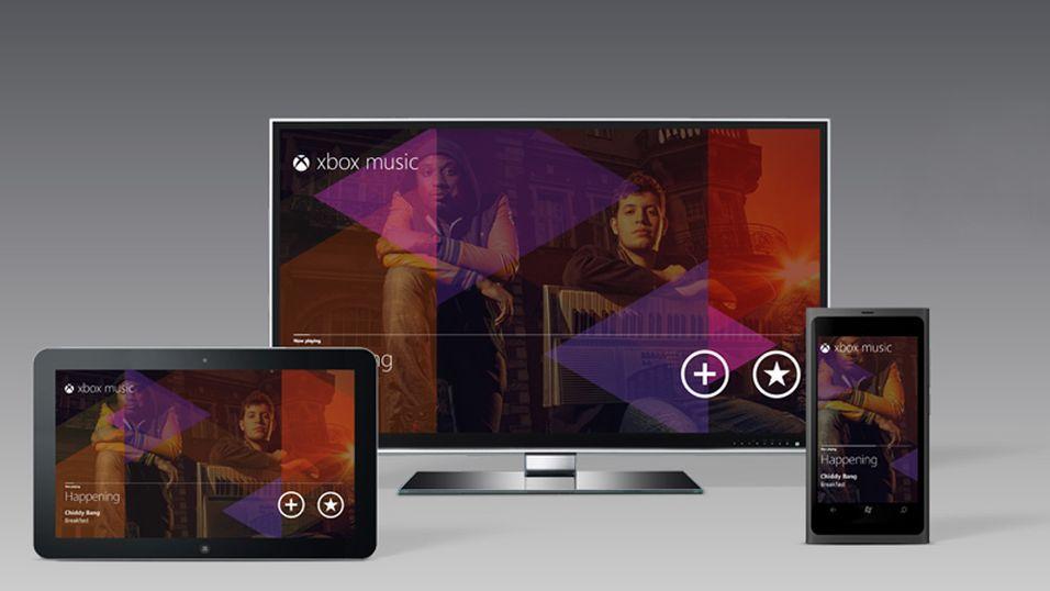 Xbox Music blir tilgjengelig på tvers av Windows 8-kompatible PC-er og nettbrett, Windows Phone og Xbox 360.
