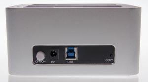 På baksiden finner du en av/på-knapp, en strøminngang, en USB 3.0-port og en «Copy»-knapp.