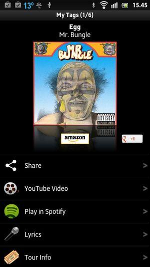 Shazam gir deg en direktelink til Spotify.