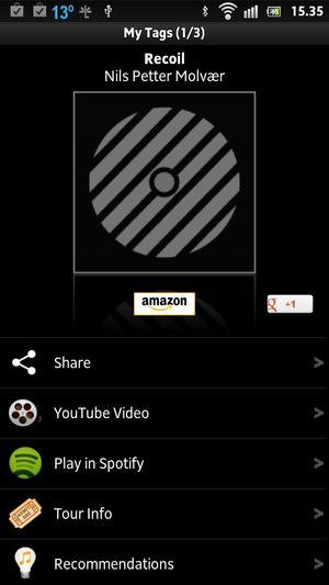 Shazams Spotify-tilkobling er praktisk dersom du bruker Spotify til musikkspilling.