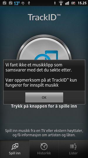 Av TrackID får vi ofte beskjed om at den ikke finner musikken.