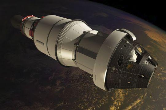 HELE SULAMITTEN: Hele romfartøyet består av fem elementer: En sikkerhetsmodul som kan frakte mannskapet i sikkerhet dersom det skjer noe galt under oppskyting eller oppstigningen, selve mannskapsmodulen, en servicemodul og to koblinger som til sammen knytter Orion til oppskytingsraketten.
