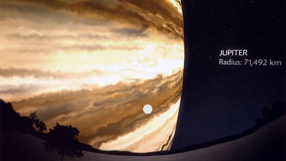 Gasskjempen Jupiter ville dekket det meste av utsikten dersom den passerte Jorden på samme avstand som Månen.
