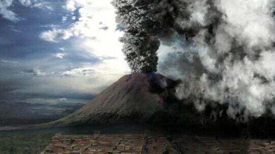 Forskere i Italia frykter et nytt utbrudd i nærheten av Pompeii. Dette er et datagenerert bilde av Vesuvs utbrudd i år 79 e.Kr. fra BBC's Pompeiis siste dager.