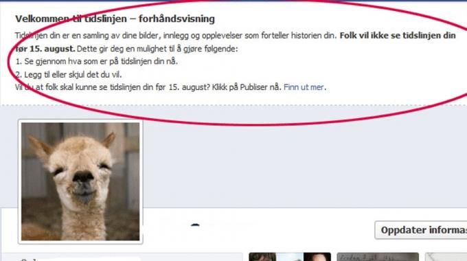 Facebook varsler nok en gang at du må gå over til timeline.