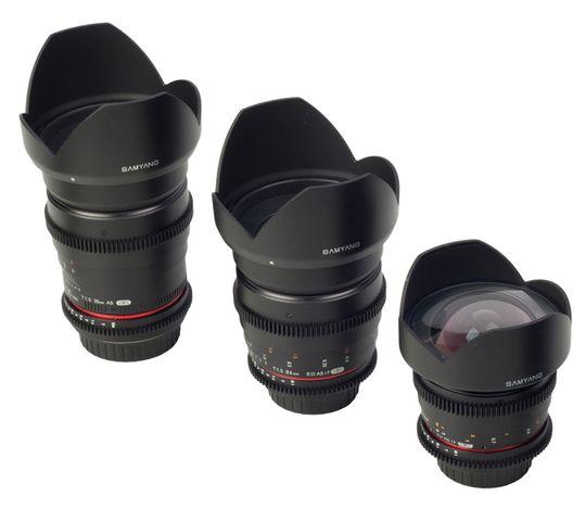 Samyang T1.5 35mm, T1.5 24mm and T3.1 14mm VDSLR objektiver.