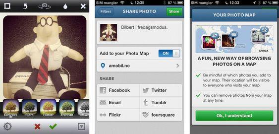 Dette er prosessen du må gjennom første gang du skal dele et bilde og vise det på ditt eget Photo Map.