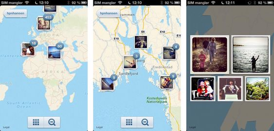 Zoomfunksjonen i Photo Maps er ganske stilig, og lar deg raskt zoome inn ved å trykke på grupper av bilder på kartet.