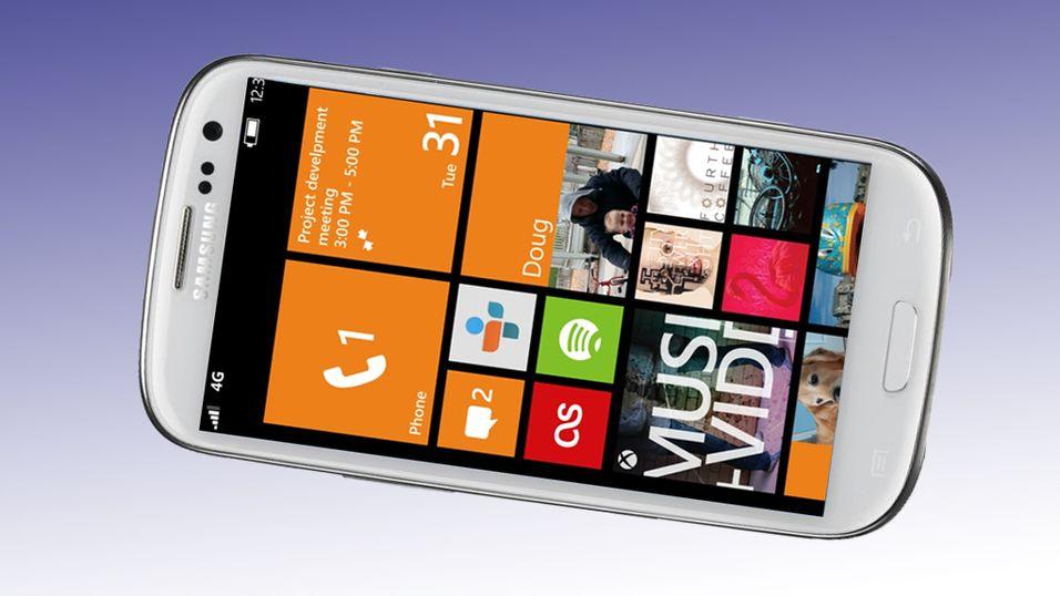Foreløpig er det helt ukjent hvordan de nye Samsung-mobilene med Windows blir seende ut. Her har vi kledt ut en Galaxy S III som Windows-telefon.