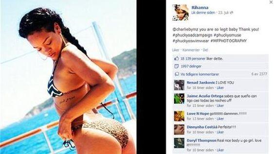 Rihanna legger ut slike bilder på Facebook, men en «lekket sexvideo» med henne i hovedrollen finnes ikke.