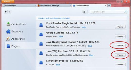 I Firefox må du trykke på den lille Firefox-knappen øverst i venstre hjørne, og navigere deg frem til innstillingene for tilleggsprogrammer. Her vil du finne menyen på bildet, og du kan enkelt og greit skru av Java.