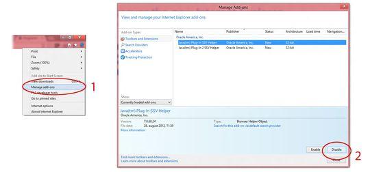 Med Internet Explorer må du inn i innstillingene for tilleggsprogrammer, før du kan deaktivere Java. Følg bildet over, og deaktiver begge Java-tilleggene.