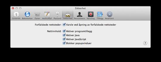 På Safari på Mac trenger du bare å gå inn på innstillinger, trykke på sikkerhetsfanen, og fjerne haken ved Java. .