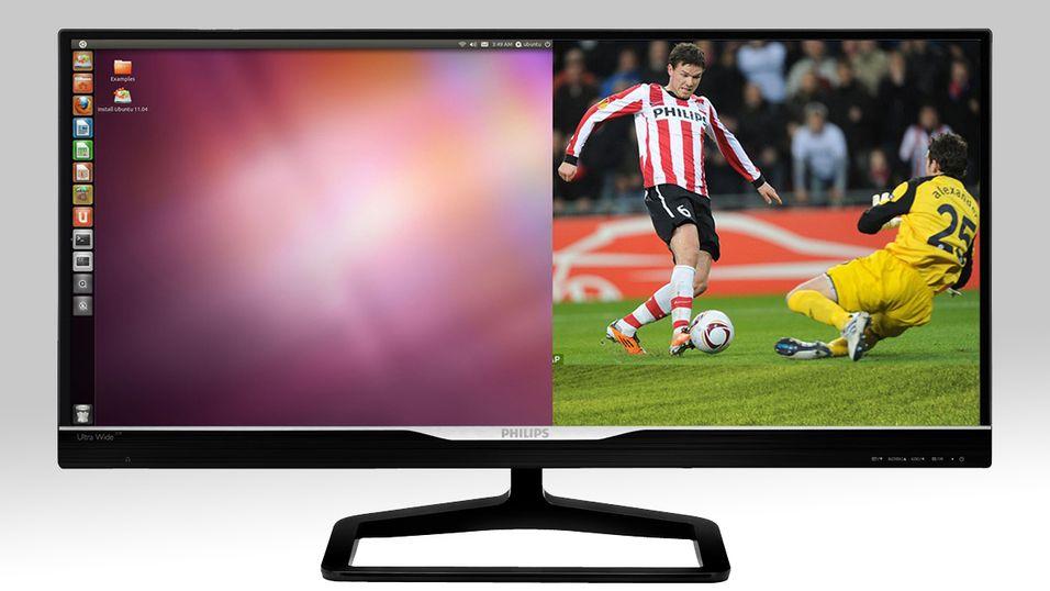 Den nye Ultra Wide-skjermen til Philips lar deg se på innhold fra to ulike kilder samtidlig.