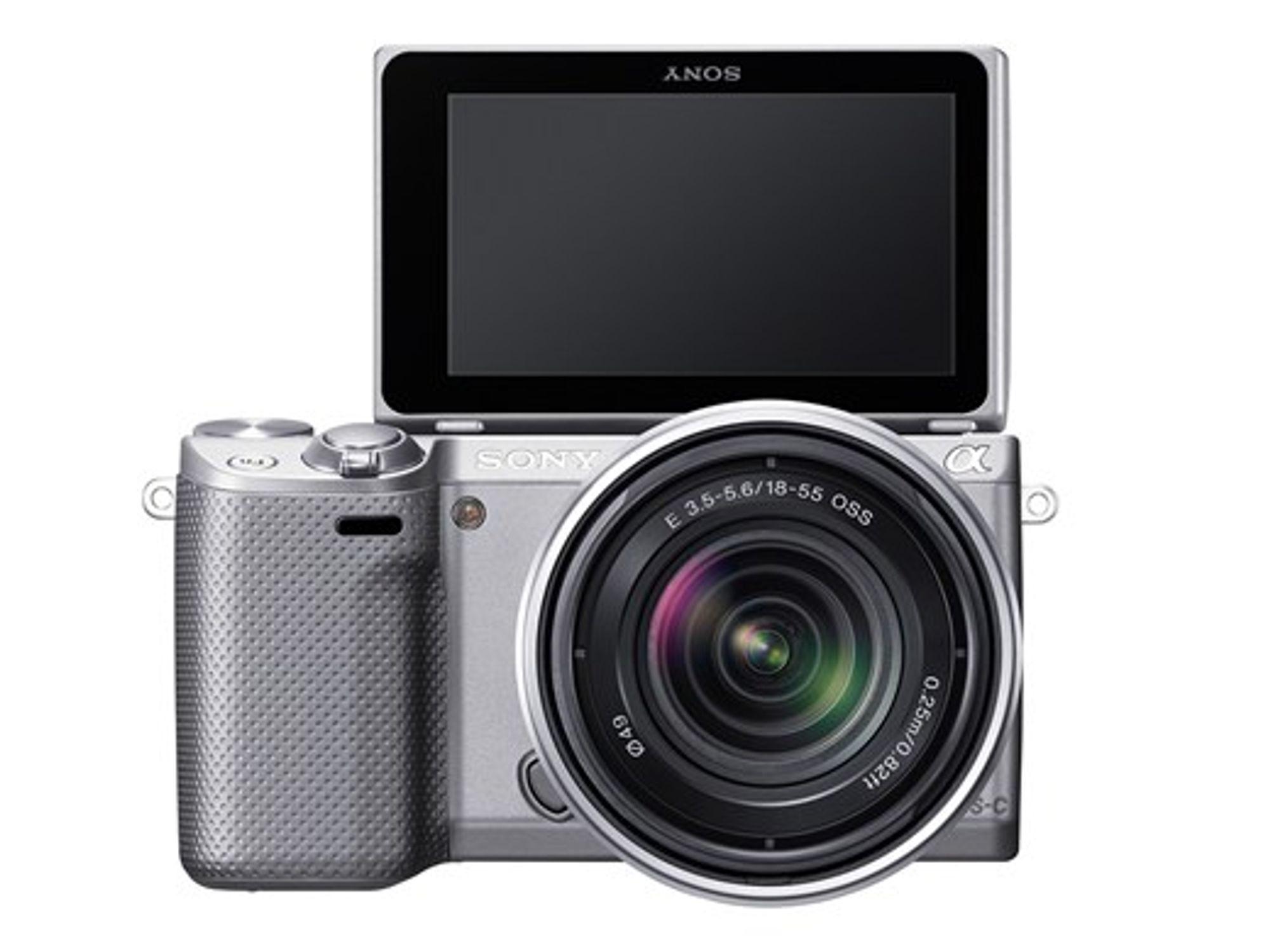 Sony NEX-5R har flippskjerm som gjør det enkelt å ta selvportrett.